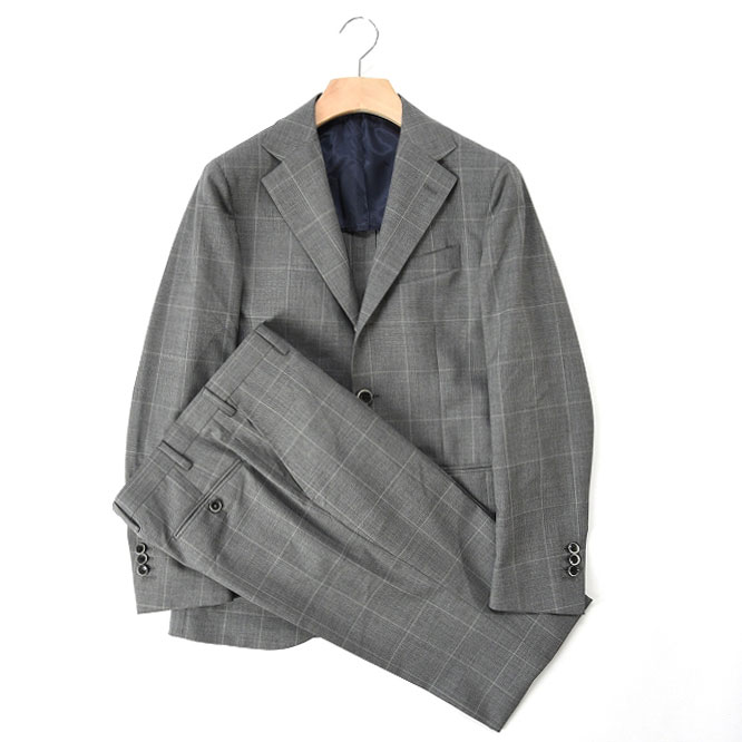 Donnanna ドンナンナ 【送料無料】スーツ シングル段返り3B ウィンドウペーン チェック ウール 100% メンズ ブランド イタリア