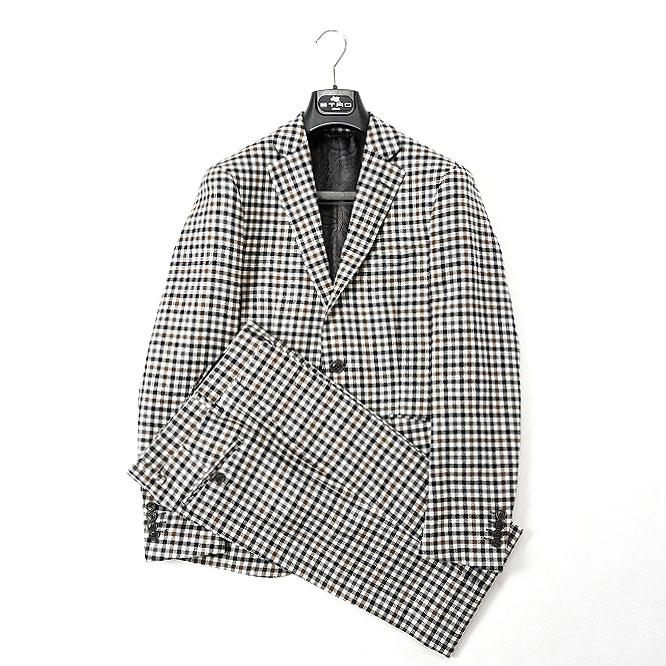 エトロ ETRO 【送料無料】スーツ シングル2B ノータック チェック ウール 100% メンズ ブランド イタリア【あす楽対応_関東】