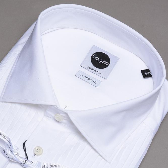 Bagutta バグッタ 【送料無料】フォーマルシャツ ドレスシャツ ワイドカラー CLASSIC FIT ヒダ胸 ダブルカフス 無地 白 ホワイト 長袖 コットン100% メンズ L XL/ブランド イタリア タキシードシャツ
