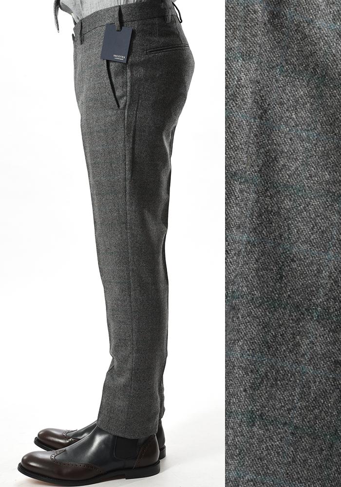 INCOTEX インコテックス 【送料無料】28モデル スラックスパンツ ノータック チェック柄 ウール100% 秋冬 メンズ ブランド【あす楽対応_関東】