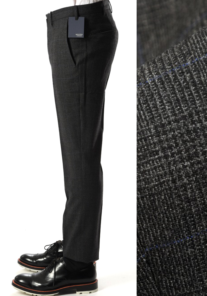 INCOTEX インコテックス 【送料無料】28モデル スラックスパンツ ノータック グレンチェック ウール カシミヤ 秋冬 メンズ ブランド【あす楽対応_関東】