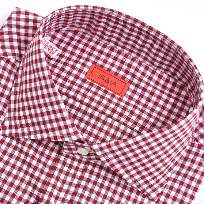 イザイア ISAIA 【送料無料】ドレスシャツ ワイドカラー ギンガムチェック コットン 100% メンズ ブランド イタリア【あす楽対応_関東】