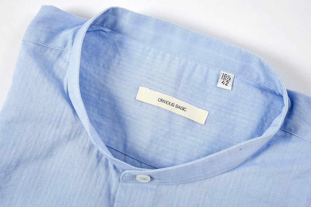 オビオス ベーシック OBVIOUS BASIC 【送料無料】カジュアルシャツ バンドカラー ストライプ柄 長袖 コットン100% メンズ ブランド【あす楽対応_関東】