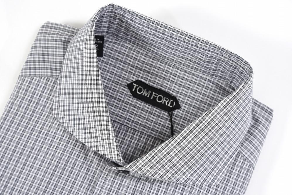 TOM FORD トムフォード 【送料無料】シャツ ホリゾンタルカラー チェック柄 長袖 コットン100% メンズ ブランド イタリア【あす楽対応_関東】