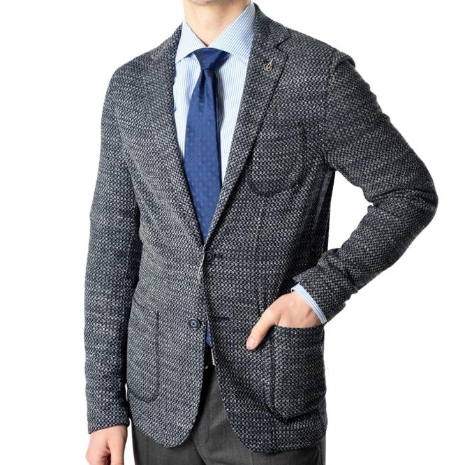 パオローニ PAOLONI 【送料無料】ニットジャケット シングル コットン リネン混 メンズ ブランド