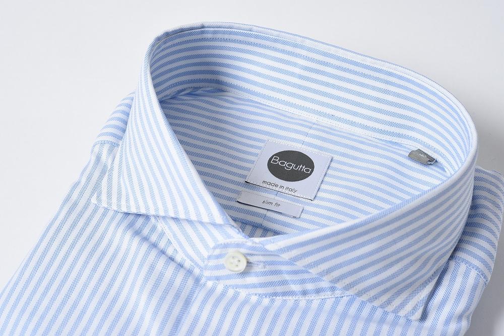 Bagutta バグッタ ドレスシャツ ホリゾンタルカラー 長袖 SLIM FIT ビジネス ストライプ コットン100% メンズ ブルー 3XL/ブランド イタリア ワイシャツ【あす楽対応_関東】