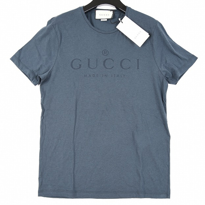 GUCCI グッチ 【送料無料】Tシャツ 半袖 メンズ 春夏 GUCCI ロゴ モスネイビー コットン 綿100% S L【あす楽対応_関東】