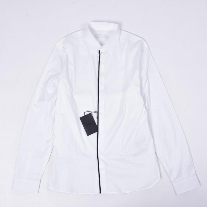 プラダ PRADA 【送料無料】デザイン シャツ レギュラーカラー メンズ フライフロント コットン 綿 ストレッチ POPELINE ホワイト 白 ブラック XXL 2XL/イタリア ブランド カジュアル 比翼仕立て 白シャツ【あす楽対応_関東】