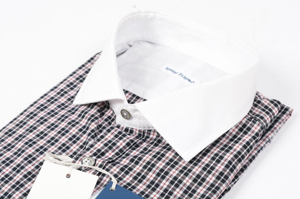 ロバート フリードマン ROBERT FRIEDMAN 【送料無料】CANCLINI 1925 クレリックシャツ ワイドカラー メンズ スリムフィット コットン 綿 100% チェック L/イタリア ブランド ビジネス ドレスシャツ【あす楽対応_関東】