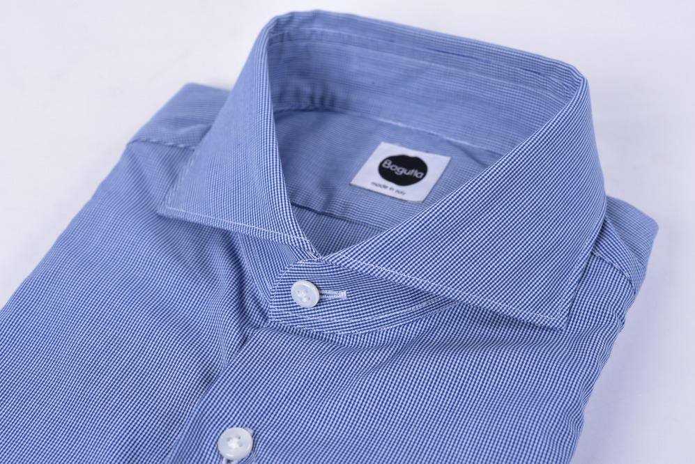 Bagutta バグッタ 【送料無料】ドレスシャツ ホリゾンタルカラー 長袖 メンズ コットン 綿 100% チェック柄 ブルー ホワイト 青 白 M/イタリア ブランド ワイシャツ ビジネス【あす楽対応_関東】