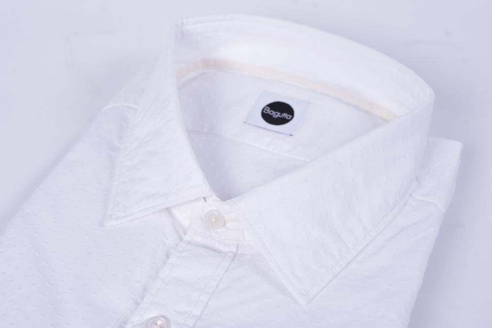 Bagutta バグッタ 【送料無料】ドレスシャツ レギュラーカラー 長袖 メンズ SLIM FIT スリムフィット コットン 綿 100% 無地 ホワイト 織柄 XL/イタリア ブランド カジュアル ビジネス 白シャツ