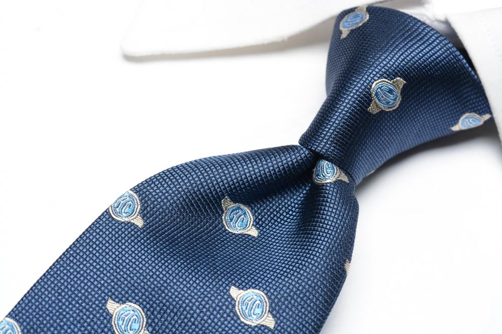 レコパン Les copains 【送料無料】ネクタイ ビジネス メンズ シルク 100% 小紋柄 紺 ネイビー/イタリア