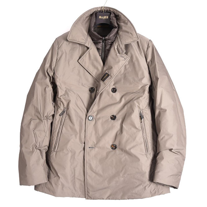 6eae6b0897ab2 MOORER Mouret EMIDIO KM down pea coat jacket blouson men light brown  espresso 4XL  Italy outer adult business XXXXL in the fall and winter