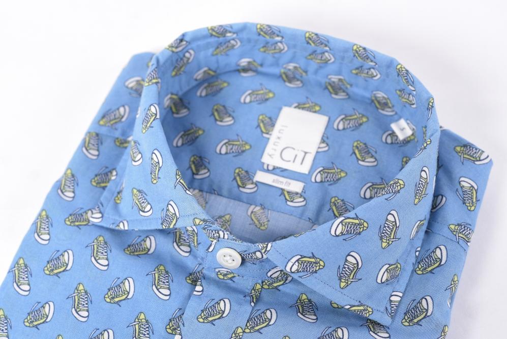 チットラグジュアリー CIT LUXURY 1939 【送料無料】ドレスシャツ ホリゾンタルカラー SLIM FIT メンズ スリムフィット コットン 綿 100% 総柄 ブルー S/イタリア ブランド カジュアル