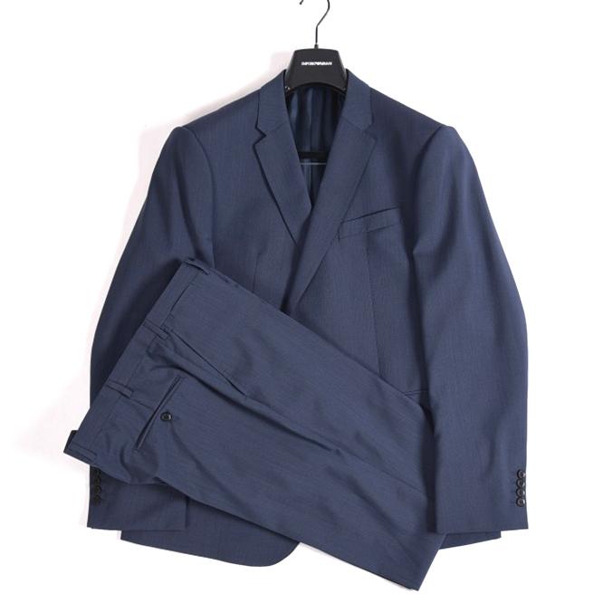 エンポリオアルマーニ EMPORIO ARMANI 【送料無料】M LINE スーツ 2つボタン シングル メンズ 3シーズン ウール 100% 無地 ネイビー 紺 4XL XXXXL/イタリア ブランド セットアップ ビジネス