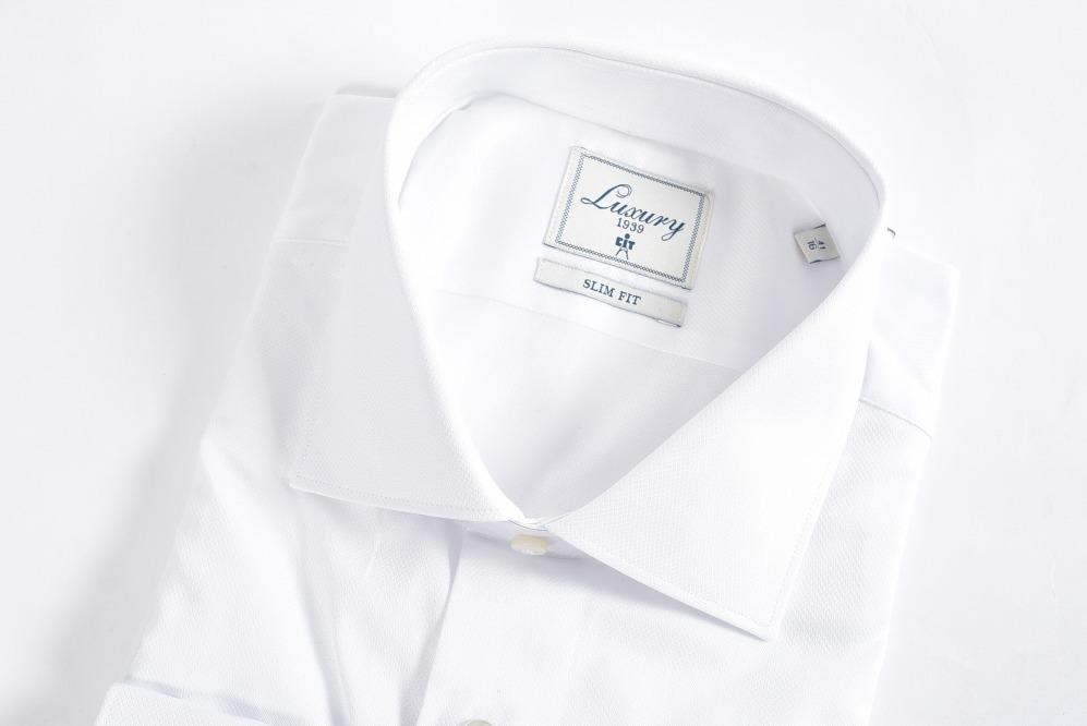 チットラグジュアリー CIT LUXURY 1939 【送料無料】ドレスシャツ ワイドカラー ダブルカフス メンズ コットン 綿 100% 無地 ホワイト 白 L/イタリア ブランド ビジネス