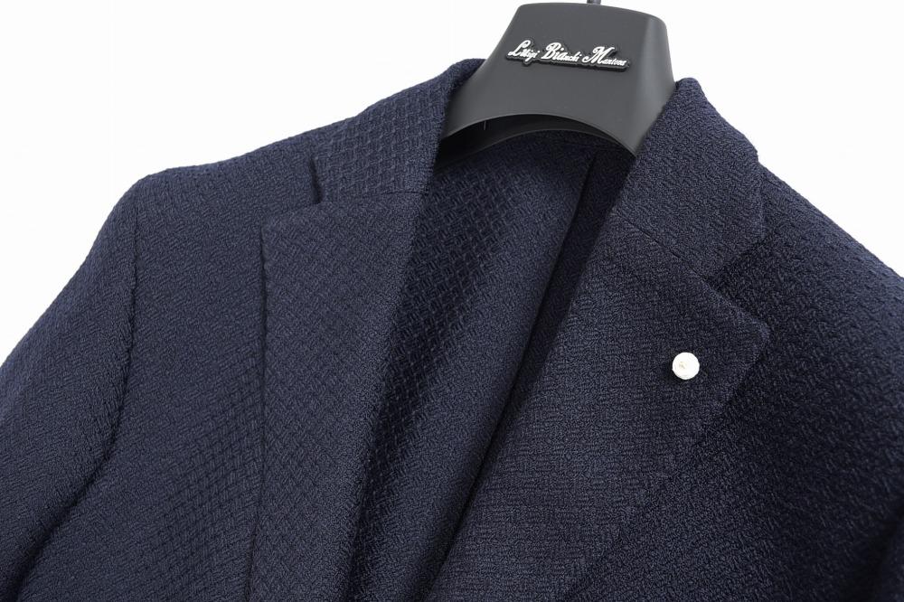 Luigi Bianchi ルイジ ビアンキ テーラードジャケット 2つボタン シングル メンズ 秋冬 サルトリア ジャケパン ウール 100% 無地 ネイビー 紺 XL XXL 2XL/イタリア ブランド ビジネス 2018-19秋冬