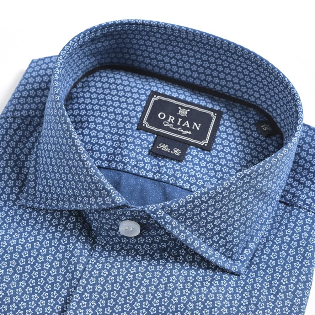 【半額以下】オリアン ORIAN ドレスシャツ ホリゾンタルカラー スリム SLIM FIT 長袖 メンズ オールシーズン ストレッチ コットン 綿 花柄 ブルー/S M L XL 2XL/イタリア ブランド ビジネス【送料無料】