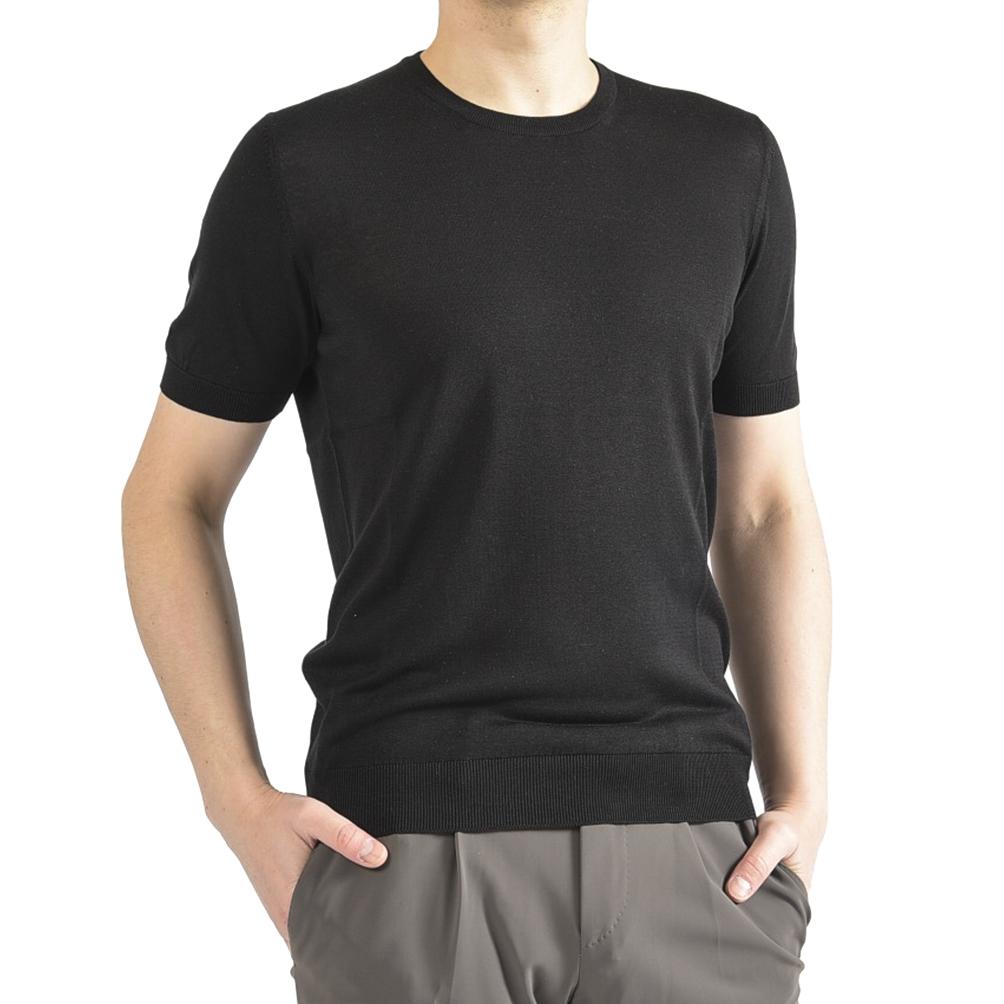 Gran Sasso グラン サッソ 【送料無料】【2020年 春夏新作】サマーニット Tシャツ シルク100% クルーネック 半袖 メンズ 春夏 ブラック 黒/XS S M L XL XXL/イタリア ブランド【さらに10%OFF】期間限定スペシャル5DAYS!【あす楽対応_関東】