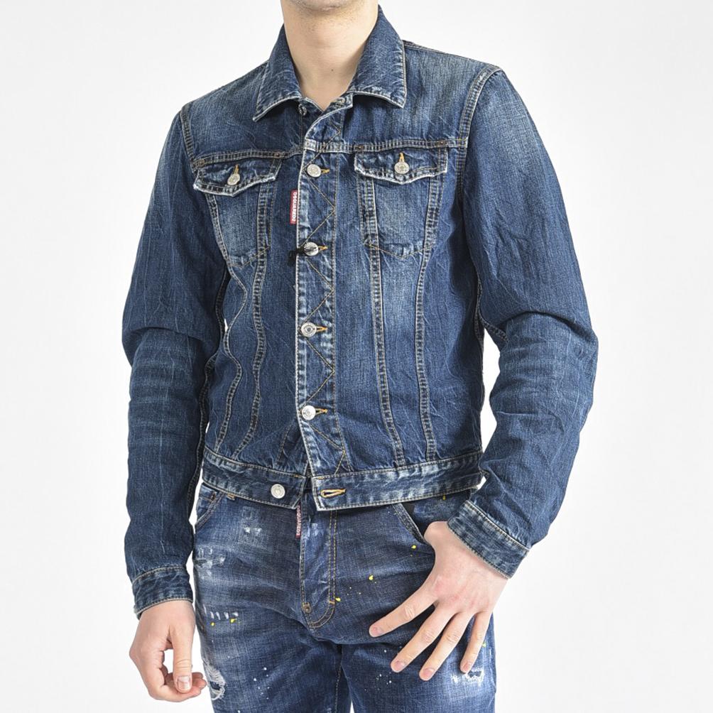 【半額以下】ディースクエアード DSQUARED2 Tidy Jean Jacket デニム ジャケット ブルゾン ダメージ加工 メンズ コットン 綿100% ウォッシュ ブルー/S/イタリア ブランド Gジャン【送料無料】