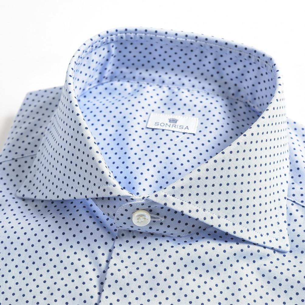 【半額以下】ソンリーサ SONRISA ドレスシャツ ホリゾンタルカラー ワイシャツ メンズ オールシーズン 長袖 コットン 100% ドット ブルー ネイビー/M XL/イタリア ブランド ビジネス【送料無料】