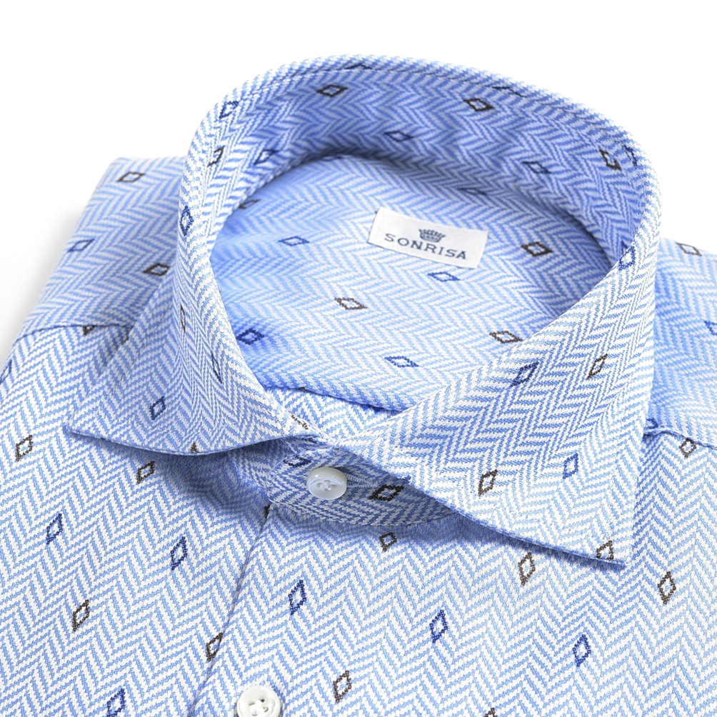 【半額以下】ソンリーサ SONRISA ドレスシャツ ホリゾンタルカラー ワイシャツ メンズ オールシーズン 長袖 コットン 100% 総柄 千鳥格子 ブルー 青/M L/イタリア ブランド ビジネス【送料無料】