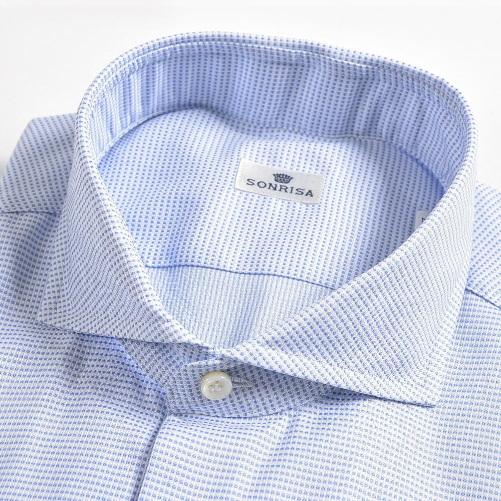 【半額以下】ソンリーサ SONRISA ドレスシャツ ホリゾンタルカラー スリム ワイシャツ メンズ オールシーズン 長袖 コットン 100% 織柄 ライト ブルー 水色/XL/イタリア ブランド ビジネス【送料無料】