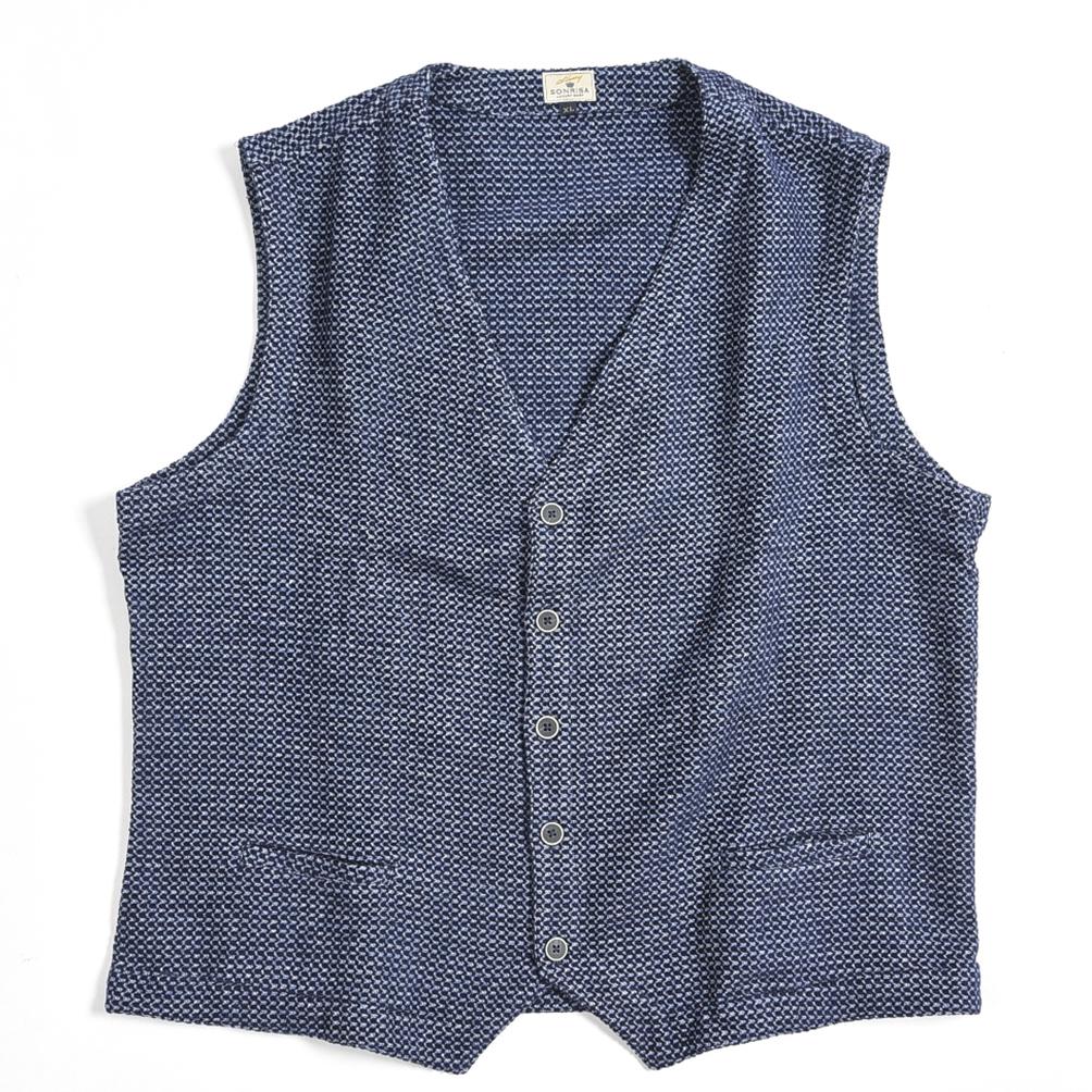 【半額以下】ソンリーサ SONRISA ベスト ジレ メンズ コットン 100% 織柄 ネイビー 紺 ブルー 青/XL/イタリア ブランド カジュアル【送料無料】