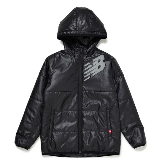 最新 撥水性 爆売り 防風性 保温性に優れた子供用中綿ジャケット ニューバランス JJJP9362 パデッドJKフーディー キッズ
