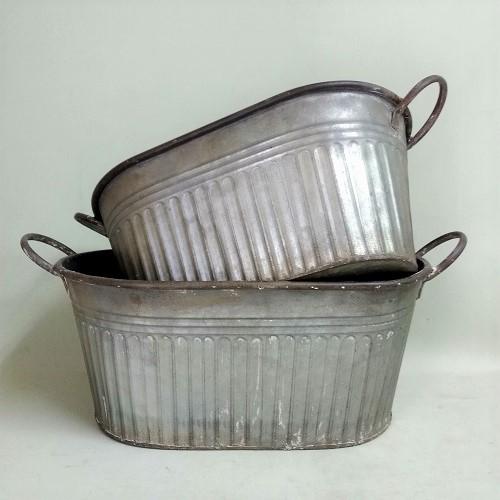 ブリキ・オーバルタブSET2 CG-EZ-94 ブリキ 鉢 鉢カバー プランター ポット バケツ 缶 ガーデニング雑貨 ガーデン雑貨 インテリア雑貨 ナチュラル アンティーク かわいい おしゃれ ポイント消化 BOWL