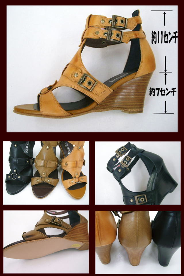NOUBEL VOUG 7022 ☆ leather-ウエッジソールグラディエーター sandals