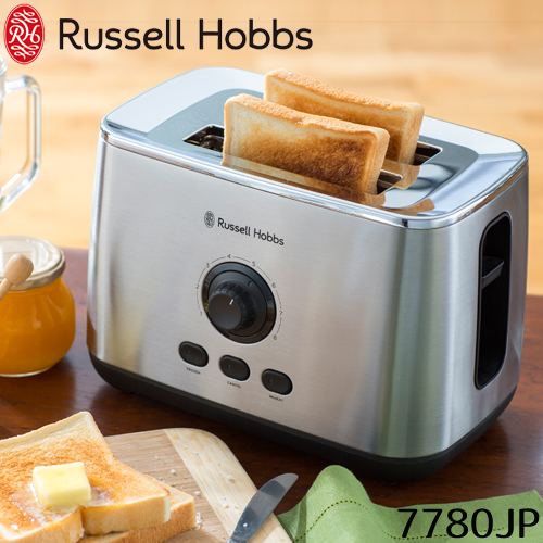 90秒で焼ける ポップアップトースター Russell Hobbs正規販売店 オーブントースター トースター 朝食 食パン おしゃれ コンパクト シンプル 冷凍パン 早い 速い ステンレス ギフト 7780JP 保証書付き
