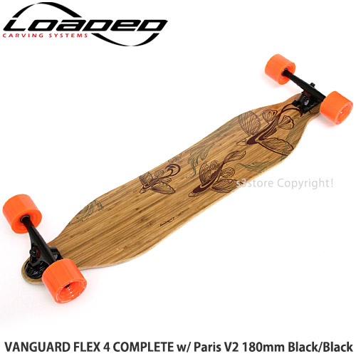 ローデッド ヴァンガード フレックス 4 コンプリート 【LOADED VANGUARD FLEX 4 COMPLETE】 スケートボード ロング SKATEBOARD フラッグシップ ダウンヒル カービング スライド トラック:Paris V2 180mm Black/Black ウィール:In Heat 75mm/80a Orange