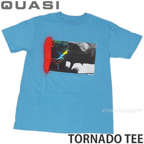クワージー 流行のアイテム QUASI トルネード ティー TORNADO TEE メーカー直売 Tシャツ スケボー SKATEBOARD カラー:CAROLINA カットソー BLU ストリート トップス 半袖