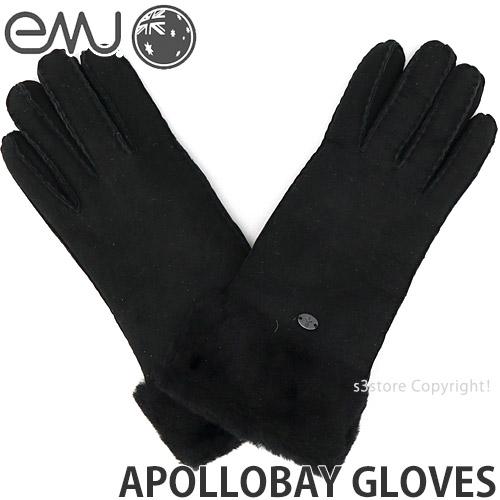 エミュー 新作 大人気 EMU アポロ ベイ グローブ APOLLOBAY GLOVES 驚きの値段で シープスキン 小物 ギフト カラー:BLACK ファッション レディース 防寒 手袋