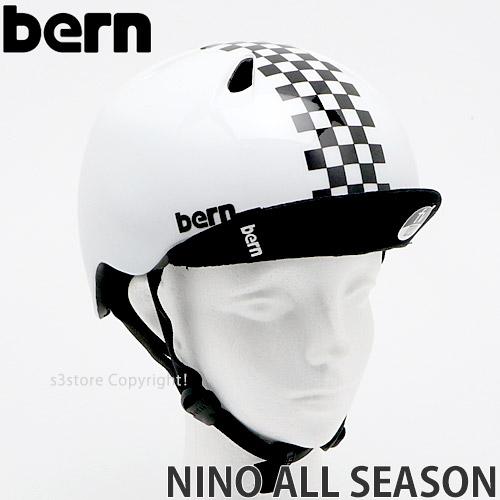 バーン BERN ニーノ 超人気 オールシーズン NINO ALL SEASON ヘルメット キッズ 商品追加値下げ在庫復活 スケートボード カラー:Checker 国内正規品 BMX 子供 ストライダー プロテクター Black 自転車
