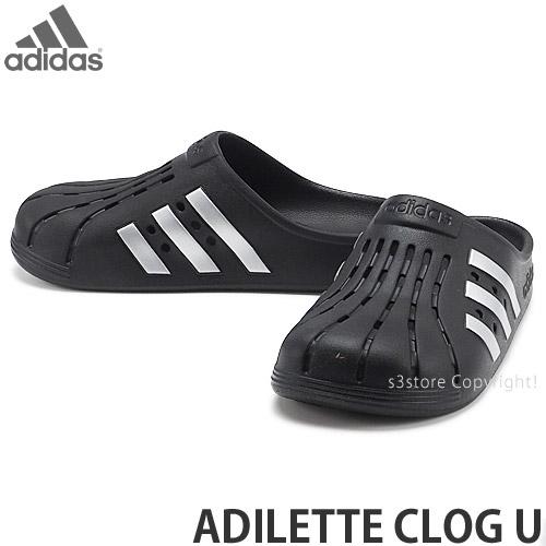 アディダス オリジナルス adidas Originals 売却 アディレッタ メーカー再生品 クロッグ ユニセックス ADILETTE CLOG シューズ シルバーメタリック U サンダル リラックス カラー:コアブラック コアブラック 靴