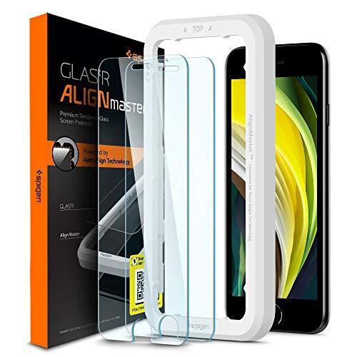 新着 Spigen AlignMaster ガラスフィルム iPhone SE 2020 割引 8 iPhone8 第2世代 iPhone7 ガイド枠付き 用 7