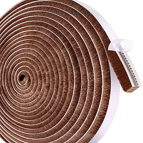 Leobro 隙間テープ すきまモヘアテープ 12mm×6mm×10m ブラウン 超ロング 気質アップ 人気海外一番 網戸用 毛足長い モヘアすき間シール 虫よけすき間テープ