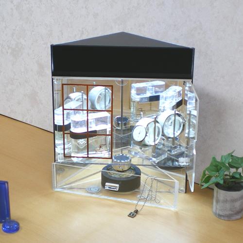 コレクションケース コーナー用 LED プラモデル・模型・ミニカー・アクセサリー・時計収納