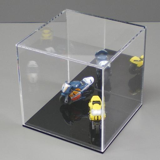 コレクションの展示に最適 アクリルケース 背面ミラー 250mm×252mm×250mm 使い勝手の良い 台座 黒 販促品 低価格 展示 カバー ディスプレイ コレクション イベント用品