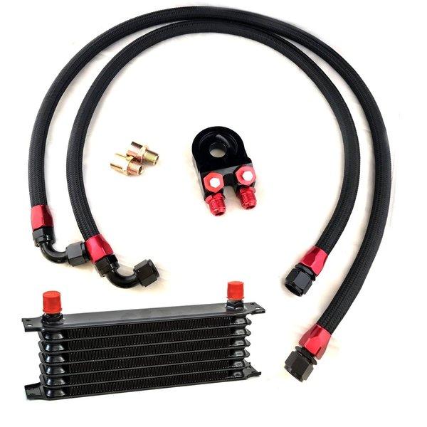 オイルクーラーキット 7段 黒 ナイロンホース オイルブロック C 油温計、油圧計、追加メーター取り付け穴あり