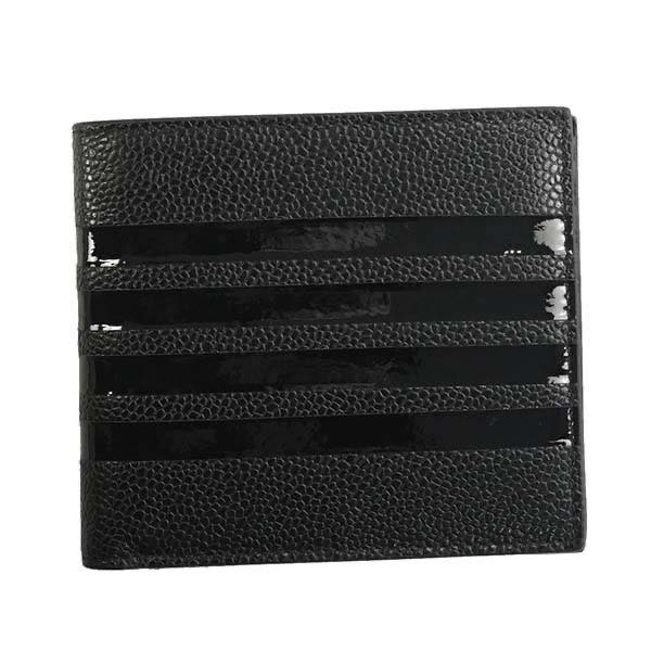 トム ブラウン THOM BROWNE / BILLFOLD W/TONAL 4 BAR STRIPE IN PEBBLE GRAIN 二つ折カード入 #MAW069B-00198 001 BLACK