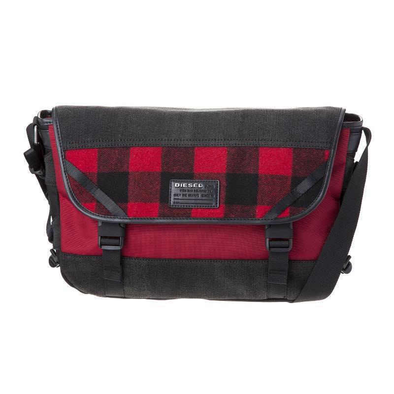 ディーゼル DIESEL / ショルダーバッグ #X04600 P1426 H6049 Grey denim/Red tartan