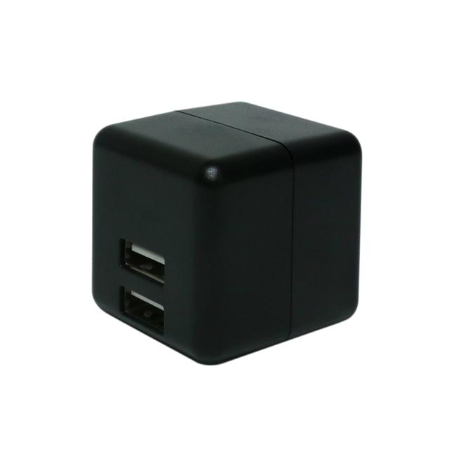 機器を判別してすばやく充電 自動出力制御IC搭載USB-ACアダプター ミヨシ キューブ型 USB-ACアダプタ 2ポート 現品 BK IPA-US02 自動出力制御IC搭載 海外100~240V対応 ブラック アウトレット