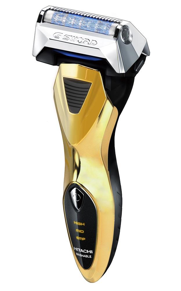 【海外対応・オートボルテージ方式】 HITACHI 電動シェーバー 往復式シェーバー 《ロータリージーソード》 ゴールド RM-LX01UF-N