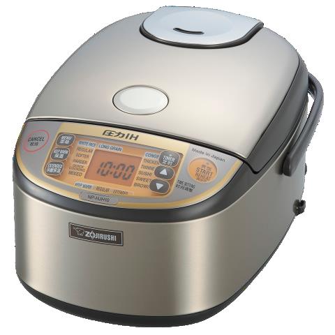 海外向けIH炊飯器 220~230V仕様 象印マホービン プラチナ内釜圧力IH炊飯ジャー 《極め炊き》 5.5合炊き ステンレスブラウン NP-HJH10-XT