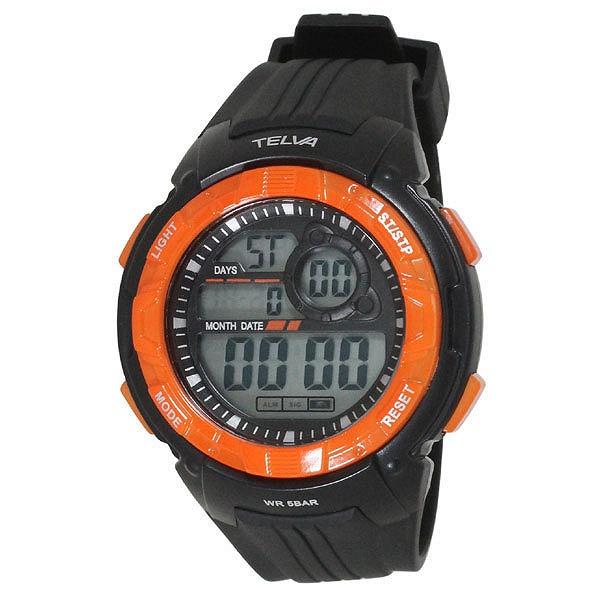 31b9512662 CREPHA クレファー TELVA テルバ デジタル 腕時計 ストップウォッチ機能付き TE-D064-OR オレンジ
