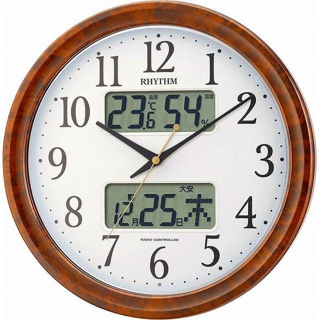 CITIZEN シチズン リズム時計 RHYTHM クロック 電波掛け時計 ピュアカレンダーM617SR 夜間自動点灯カレンダー 木目仕上げ 4FY617SR23