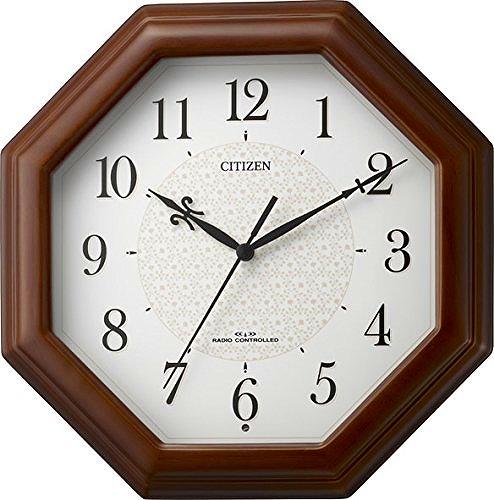 CITIZEN シチズン リズム時計工業 RHYTHM クロック 小ぶり電波時計 ネムリーナメイト 木枠/茶色半艶仕上げ 4MYA30-006
